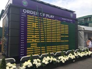 Order of Play Wimbledon