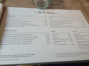Stephen St Kitchen Menu